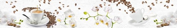 7043 кухонный фартук Скинали Орхидеи, фартук для кухни Скинали Орхидеи, стеклянный фартук Скинали Орхидеи, фартук на кухню Скинали Орхидеи