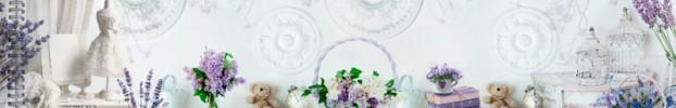 17742 кухонный фартук Скинали лаванда, фартук для кухни Скинали лаванда, стеклянный фартук Скинали лаванда, фартук на кухню Скинали лаванда