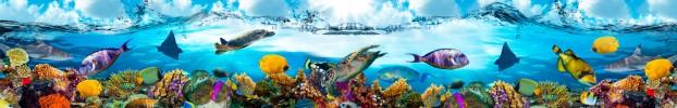 18245 кухонный фартук Скинали аквариум, фартук для кухни Скинали аквариум, стеклянный фартук Скинали аквариум, фартук на кухню Скинали аквариум