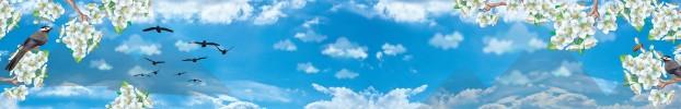 1160819 кухонный фартук Скинали Небо, фартук для кухни Скинали Небо, стеклянный фартук Скинали Небо, фартук на кухню Скинали Небо